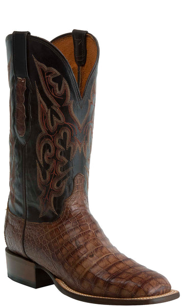 Lucchese KD6015.WF Mens Brown Caiman Crocodile Belly Boots