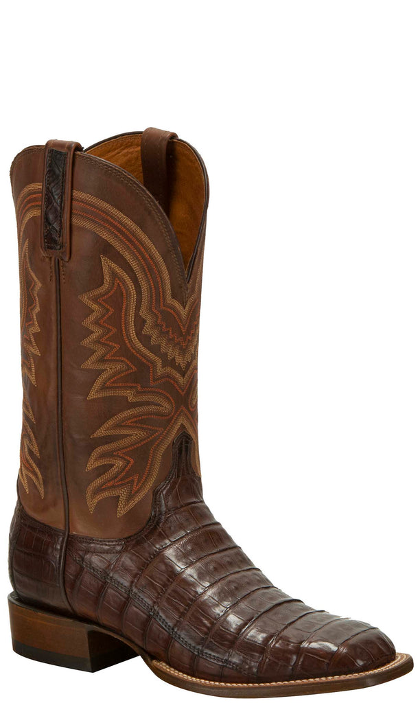 Lucchese KD6030.WF Mens Brown Caiman Crocodile Tail  Boots