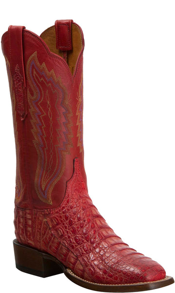 Lucchese KD8001.WF Womens Red Caiman Crocodile Boots