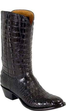 Lucchese L1001 Black Hornback Alligator Cowboy Classics Boots