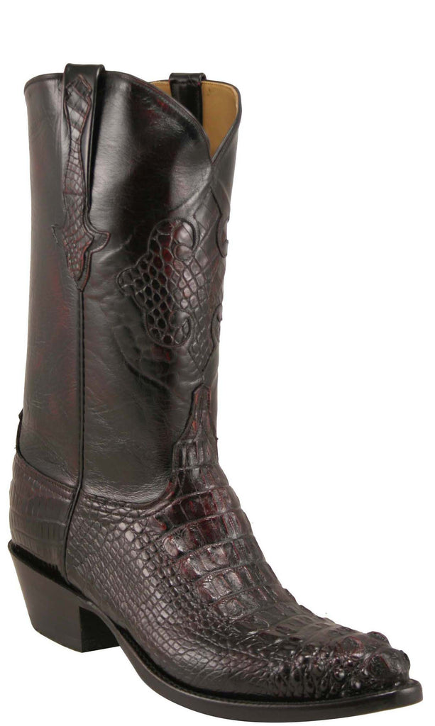 Lucchese L1012 Mens Black Cherry Hornback Alligator Boots