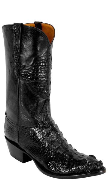 Lucchese Classics L1013 Mens Black American Alligator Hornback Head Cut Boots