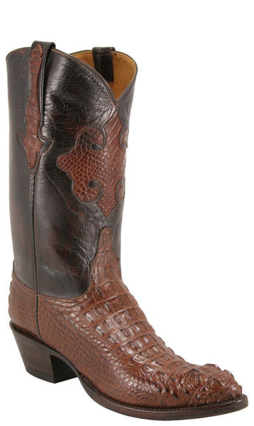 Lucchese Classics L1014 Mens Sport Rust Brown American Alligator Hornback Head Cut Boots
