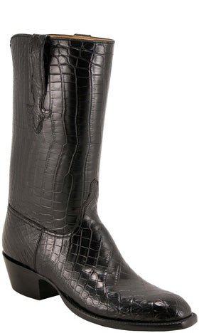 Lucchese L1067 Mens Black All-Over Alligator Cowboy Classics Boots