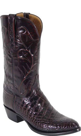 Lucchese Classics L1078 Mens Black Cherry American Alligator Belly Boots