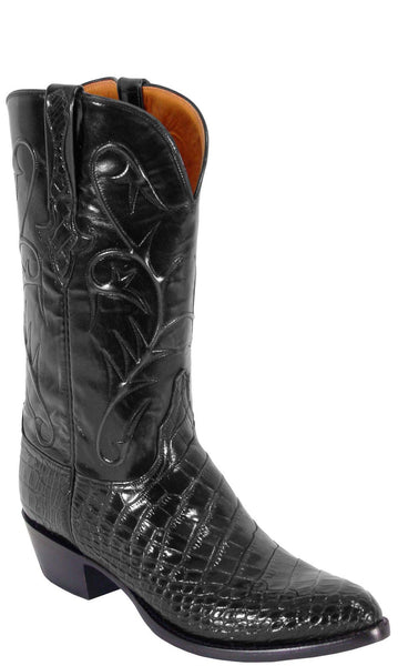 Lucchese Classics L1079 Mens Black American Alligator Belly Bias Cut Boots