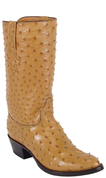 Lucchese Classics L1159 Mens Saddle Tan Full Quill Ostrich Boots