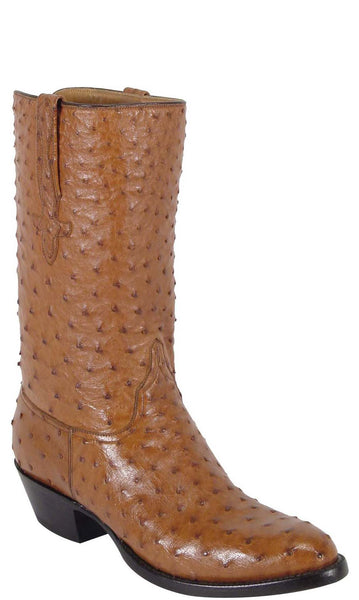 Lucchese L1161 Mens Cognac Brown Full Quill Ostrich Cowboy Classics Boots