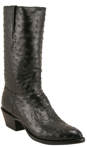 Lucchese L1163 Mens Black Full Quill Ostrich Cowboy Classics Boots - Lucchese