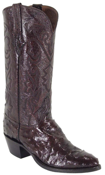 Lucchese Classics L1164 Mens Black Cherry Full Quill Ostrich Boots