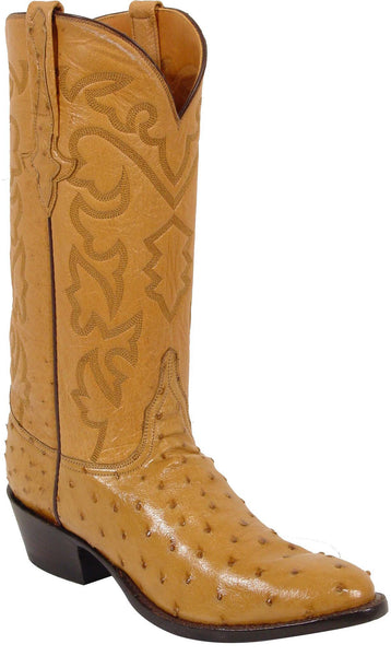Lucchese Classics L1165 Mens Saddle Tan Full Quill Ostrich Conger Boots