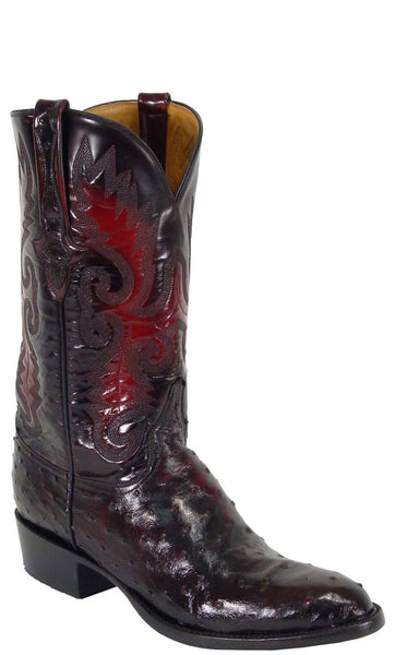 Lucchese Classics L1173 Mens Black Cherry Full Quill Ostrich Boot