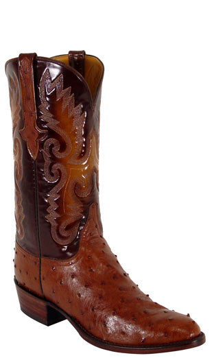 Lucchese L1176 Mens Sienna Brown Ostrich Cowboy Classics Boots