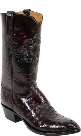 Lucchese L1182 Black Cherry Full Quill Ostrich Cowboy Classics Boots
