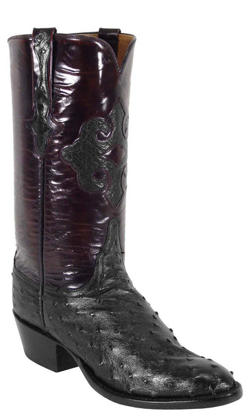 Lucchese L1183 Mens Black Full Quill Ostrich Cowboy Classics Boots