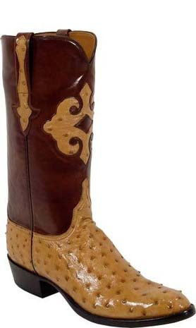 Lucchese L1184 Mens Saddle Tan Full Quill Ostrich Cowboy Classics Boots