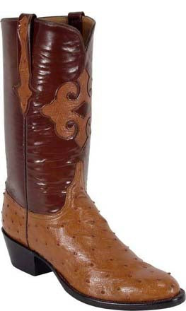 Lucchese L1188 Mens Cognac Full Quill Ostrich Cowboy Classics Boots