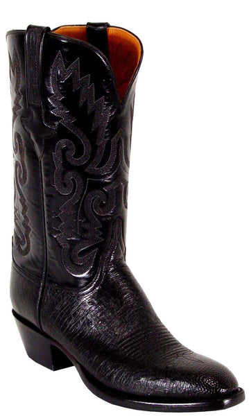 Lucchese Classics L1201 Black Smooth Ostrich Mens Boots