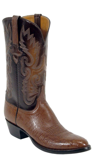 Lucchese L1202 Mens Cigar Brown Smooth Ostrich Cowboy Classics Boots