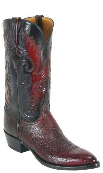 Lucchese L1203 Mens Black Cherry Smooth Ostrich Cowboy Classics Boots