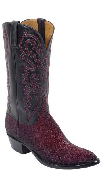Lucchese Classics L1204 Mens Black Cherry Brush Off Stingray Boots