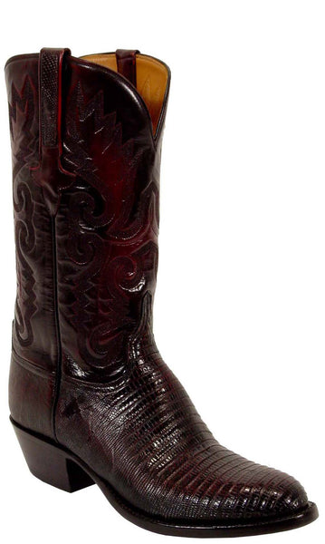 Lucchese Classics L1207 Mens Black Cherry Lizard Boot