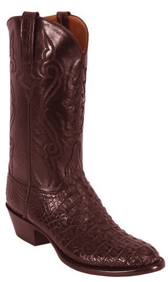 Lucchese Classics L1249 Mens Black Cherry Nile Crocodile Hornback Body Cut Boots