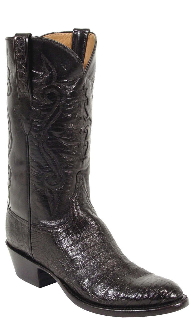 Lucchese Classics L1252 Mens Black Caiman Crocodile Belly Cowboy Boots