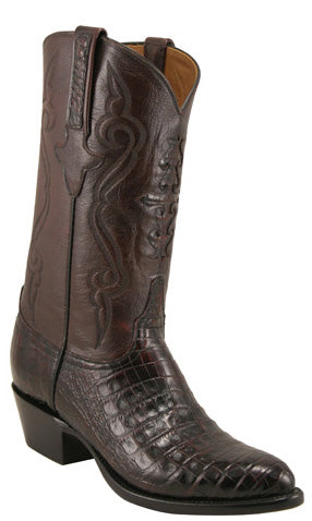 Lucchese Classics L1253 Mens Black Cherry Caiman Crocodile Belly Custom Handmade Boots
