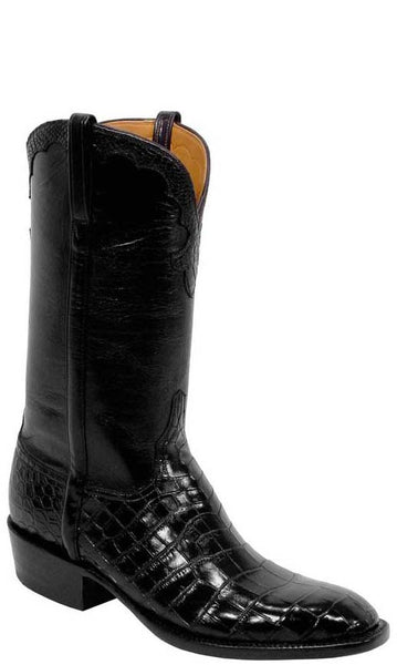 Lucchese L1256 Mens Black Nile Belly Crocodile Cowboy Classics Boots