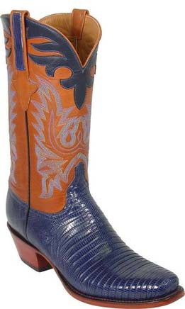 Lucchese L1290 Mens Navy Blue Lizard Cowboy Classics Boots