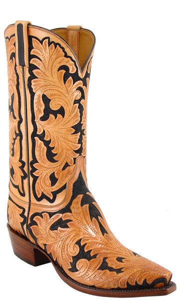 Lucchese L1320 Mens Natural Black Hand Tooled Cowboy Classics Boots