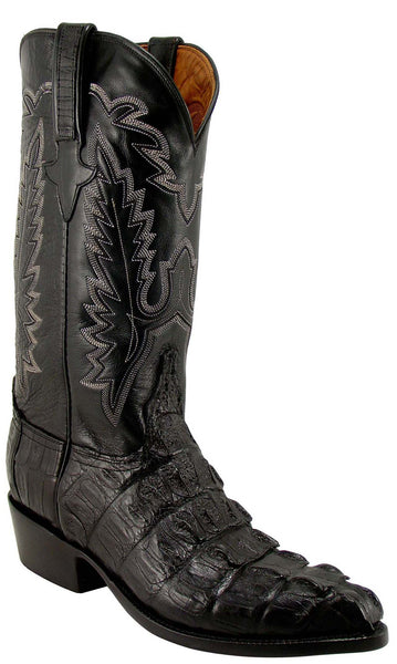 Lucchese Classics L1325 Mens Black Hornback Caiman Crocodile Tail Boot