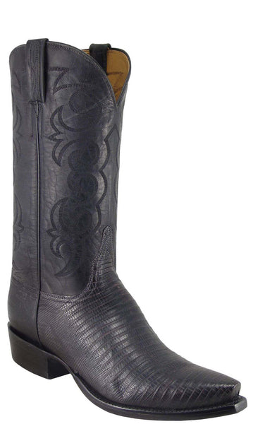 Lucchese L1334 Mens Black Sanded Lizard Cowboy Classics Boots
