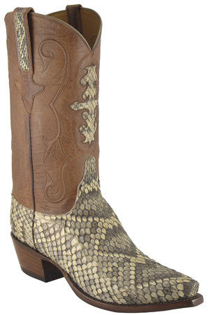 Lucchese Classics L1337 Mens Natural Eastern Rattlesnake Boots With Black Tops
