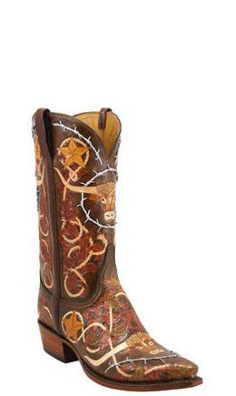 Lucchese Classics L1358 Mens Brown Longhorn Barbwire Fully Hand Tooled Boots