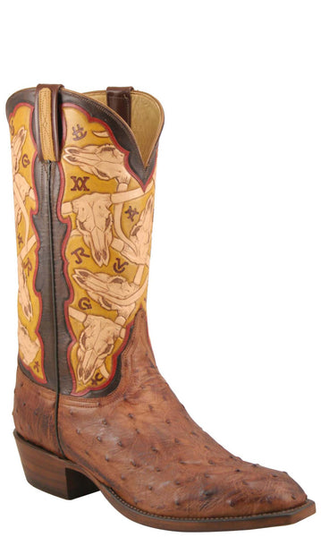 Lucchese Classics L1359 Mens Barnwood Burnished Full Quill Ostrich Brands And Skulls Hand Tooled Boot