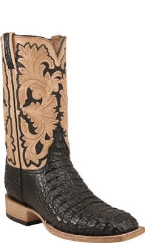 Lucchese Classics L1368 Black Hornback Crocodile Mens Boots