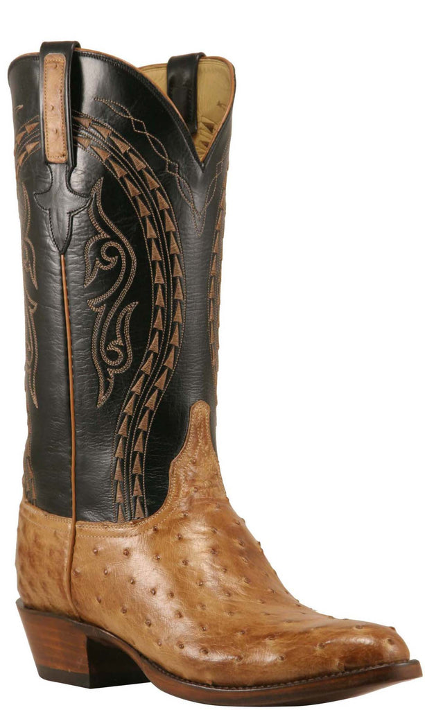 Lucchese L1384 Mens Tan Burnished Ostrich Cowboy Classics Boots