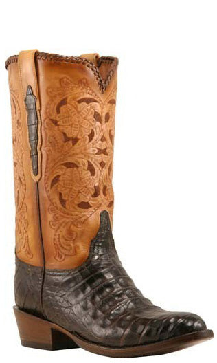 Lucchese Classics L1398 Mens Chocolate Brown Caiman Crocodile Belly Hand Tooled Boots