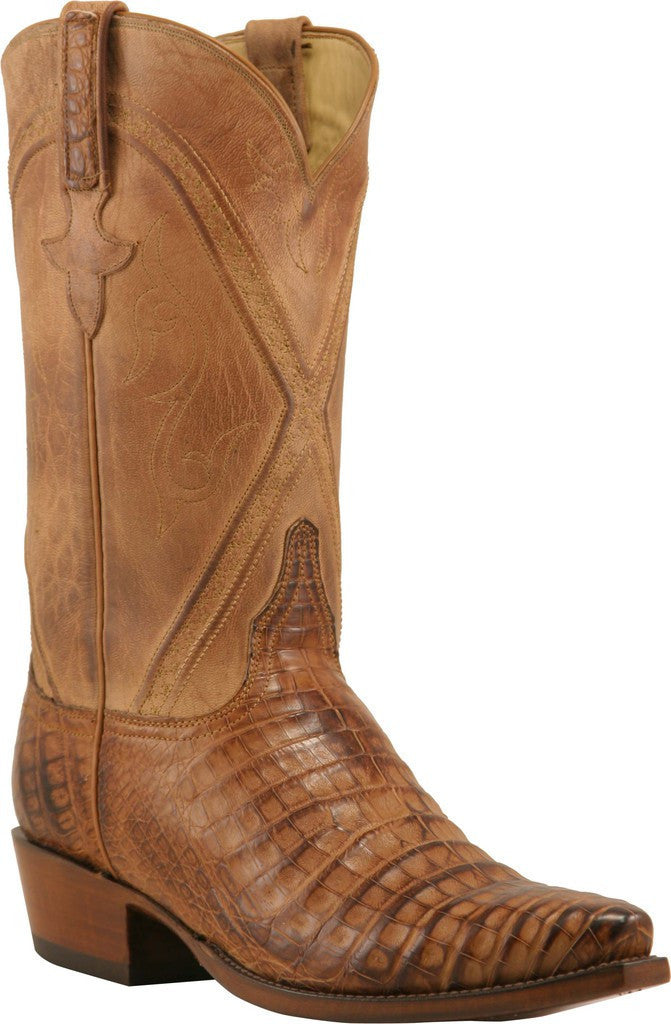 Lucchese Classics L1399.74 Mens Tan Burnished Belly Caiman Crocodile Boots