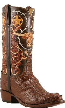 Lucchese L1406 Cigar Brown American Alligator Hand Tooled Classics Boots