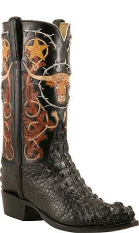 Lucchese L1407 Mens Black American Alligator Hand Tooled Cowboy Classics Boots