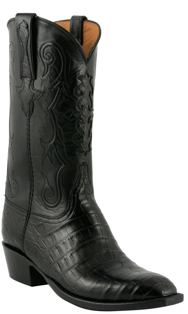 Lucchese Classics L1410 Black Caiman Crocodile Belly Cowboy Boots