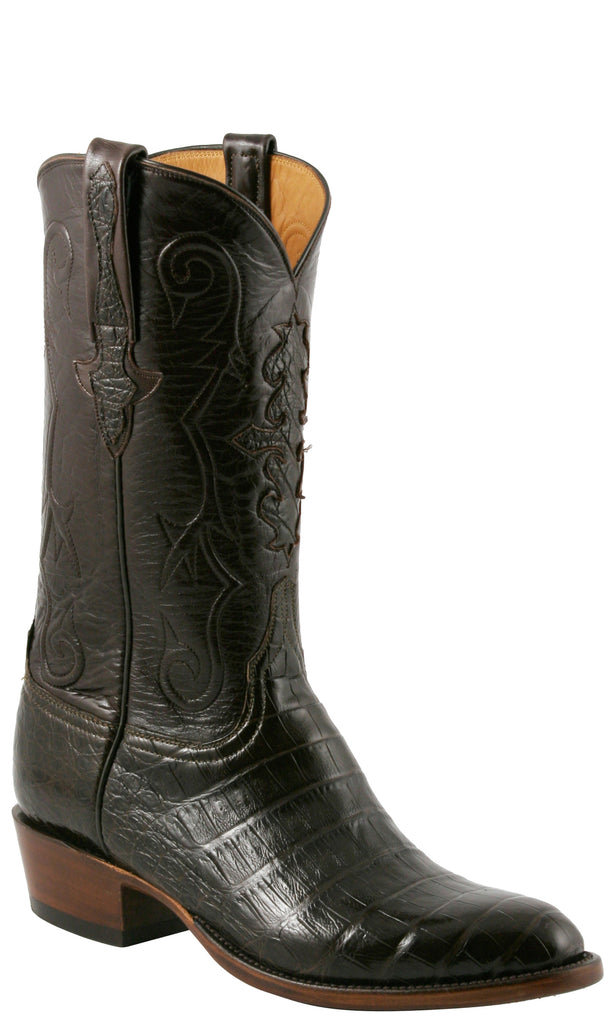 Lucchese L1411 Mens Chocolate Brown Caiman Crocodile Cowboy Classics Boots