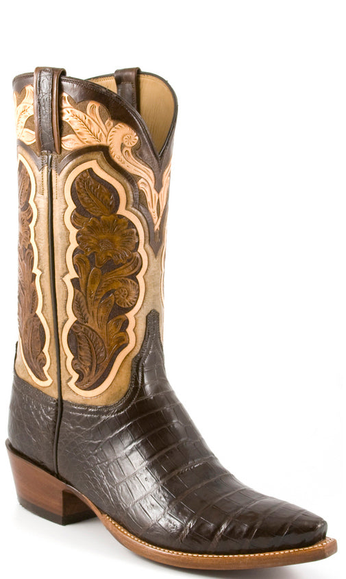 Lucchese Classics L1412 Mens Chocolate Brown Ultra Belly Caiman Crocodile Boots