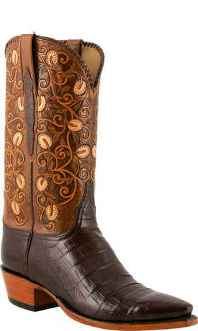 Lucchese L1413 Mens Sienna Caiman Crocodile Hand Tooled Cowboy Classics Boots