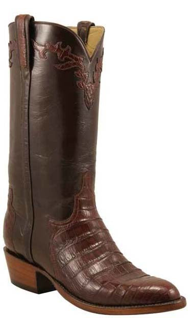 Lucchese L1415 Mens Sienna Brown Caiman Crocodile Belly Cowboy Classics Boots