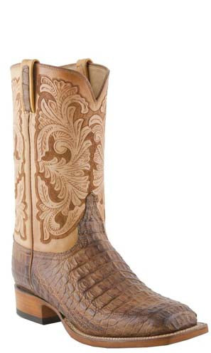 Lucchese L1417 Mens Tan Burnished Hornback Caiman Crocodile Cowboy Classics Boots