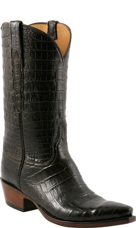 Lucchese L1419 Chocolate All-over Caiman Crocodile Cowboy Classics Boots